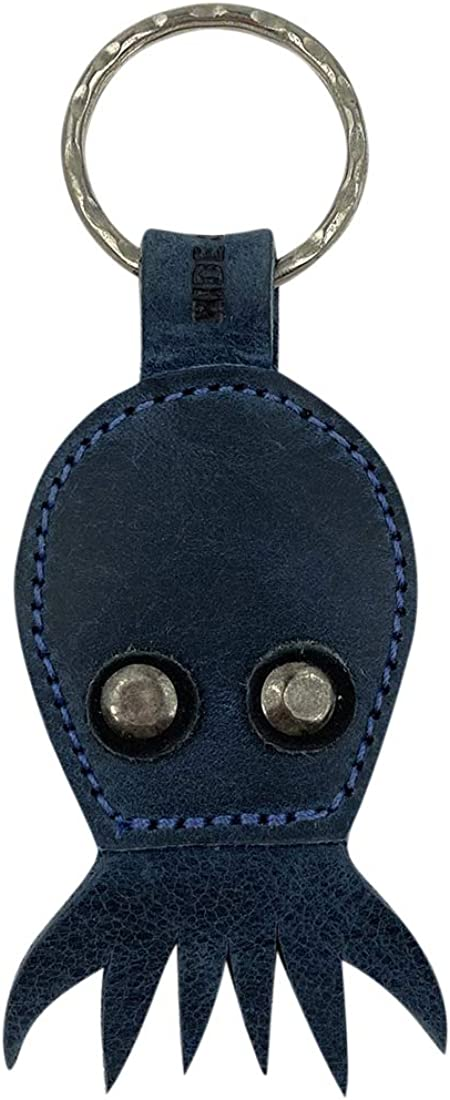 Hide & Drink, Octopus Keychain Handmade from Full Grain Leather - Hand Stitched and Hand Cut - Cute, Trendy, Stylish, Accessory - Keyring for Easy Attachment to Keys - Makes a Great Gift - Slate Blue