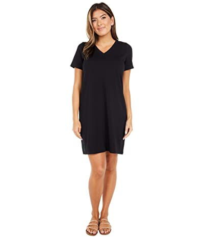 Eileen Fisher Petite Organic Cotton Stretch Jersey V-Neck Short Sleeve Dress (Black) Women