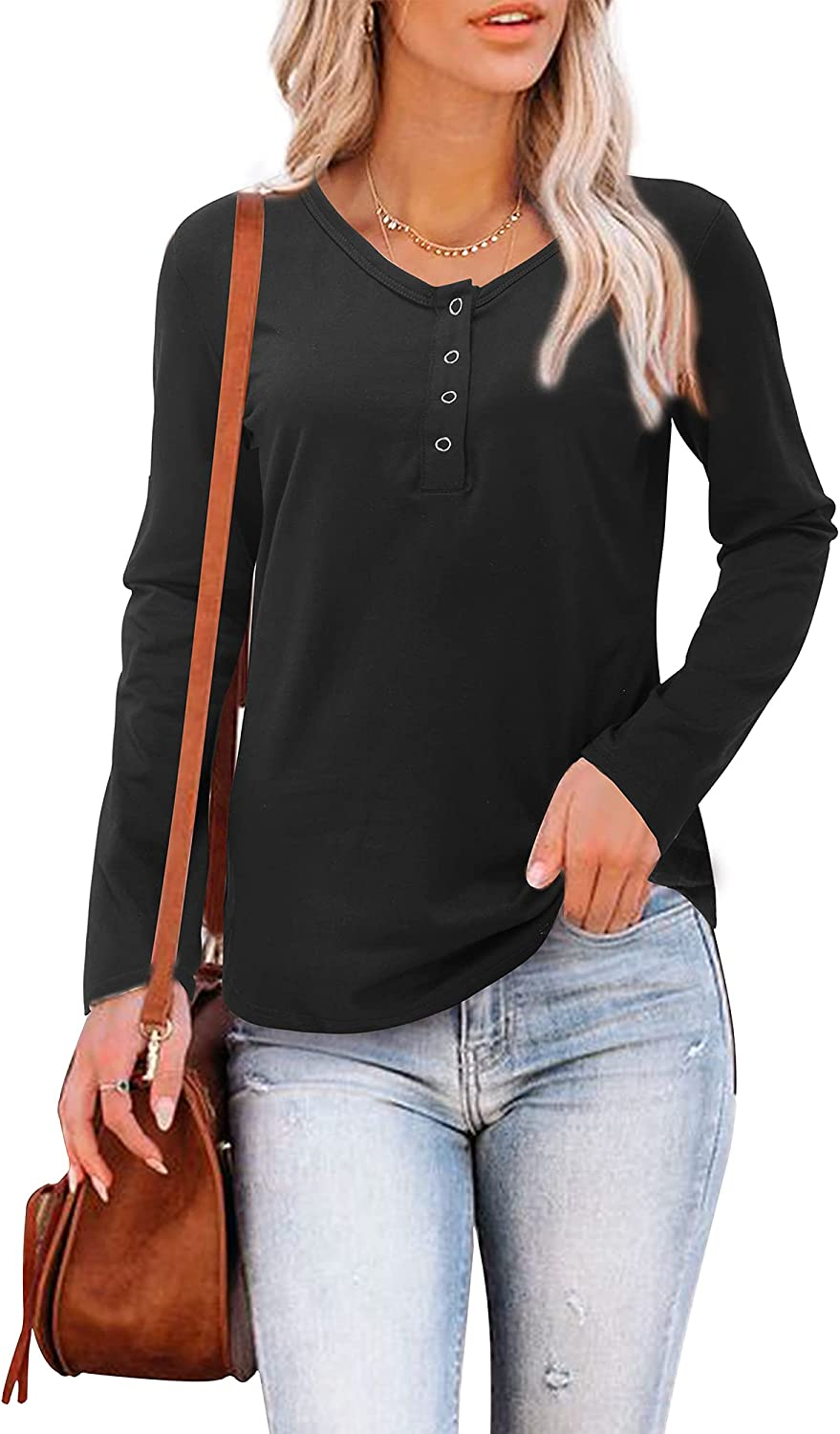 OUGES Womens Long Sleeve V Neck T Shirt Casual Button Henley Tops Tunic