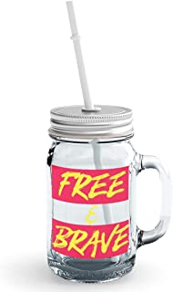 Clear Mason Jar-Free Brave Inspire Motivate Glass Jar With Straws With Words