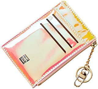 Minimalist Holographic Credit Card Case Holder Slim Front Pocket Wallet Coin Purse with Key Ring for Women Girls