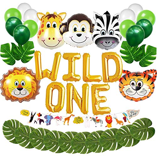 Wild EIN erster Geburtstag Ballon Dekoration Kit, 1. Boy Girl Theme Bday Party Banner Dekoration Set