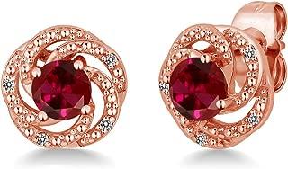 Gem Stone King 1.26 Ct Red Created Ruby White Diamond 18K Rose Gold Plated Silver Flower Design Earrings