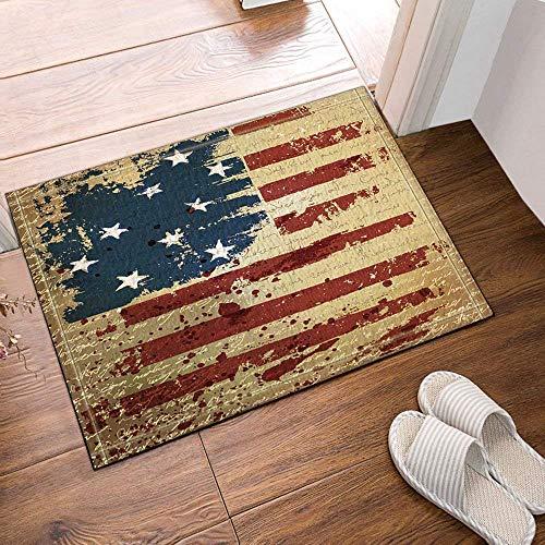 Art deco usa bandera retro estrellas rayas Alfombra de baño puerta antideslizante puerta de entrada del piso exterior interior puerta delantera alfombra de niños alfombra de baño 60X40CM accesorios