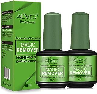 Magic Nail Polish Remover, (2Pcs) Easily & Quickly Removes Soak-Off Gel Polish, Don't Hurt Nails, Professional Non-Irritating Nail Polish Remover-15ml