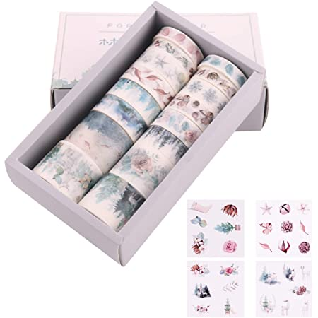 Kollektion f/ür Bastler 10 Roll A Karten und Scrapbooking Christmas Dekoratives Klebeband versch/önert Journals Planer Lychii 10 Rollen Washi Tape Set