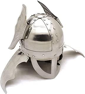 Medieval Warrior 20 Gauge Steel Winged Viking Helmet with Leather Liner