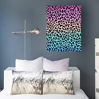 Canvas Wall Art Print Painting Gradient Pink Blue Leopard Pattern Wooden Frame Stretched Artwork Printing 16 x 16 Home Bedroom Living Room Office Decoration