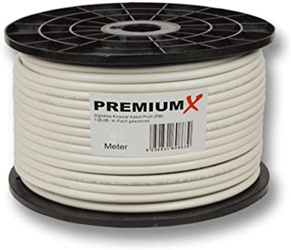 100m Cable coaxial PremiumX Profi 135 dB blindado de 4 vías ...