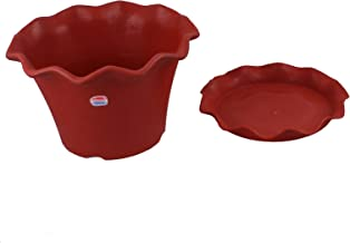 """Gardens Need Orchid Pot with Same Color Drip Tray - 12"""", Pack of 2 Sets, Terracota"""