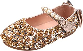 Children Kids Girls Cute Crystal Bowknot Pearl Princess Dance Single Casual Shoes