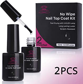 Makartt P-07 2 Bottles No Wipe Top Coat Nail Polish Kit LED UV Lamp Fast Curing Soak Off Top Gel 21 Days High-Gloss Wear