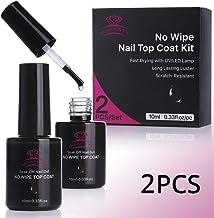 Makartt 2Pcs Top Coat Nail Polish Kit No Wipe Top Gel LED UV Lamp Fast Curing Soak Off Top Gel 21 Days High-Gloss Wear P-07