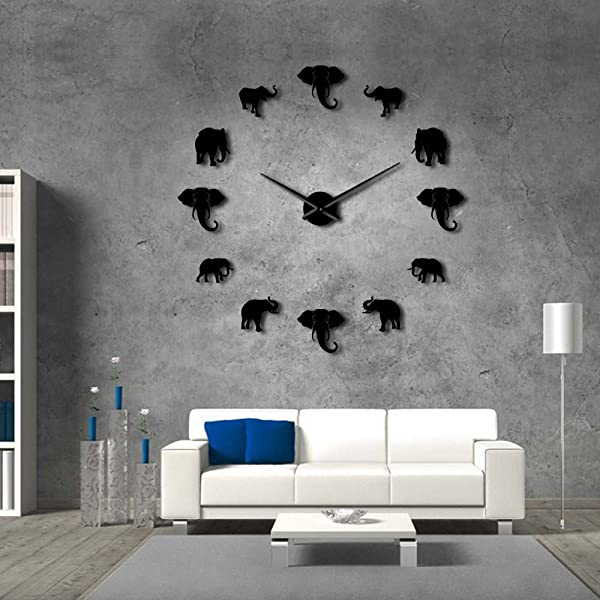 The Geeky Days Jungle Animals Elephant DIY Large Wall Clock Home Decor Modern Design Mirror Effect Giant Frameless Elephants DIY Clock Wall Watch Black