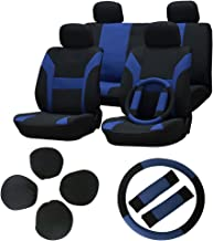Seat Cover cciyu Universal Car Seat Cushion w/Headrest/Steering Wheel/Shoulder Pads - 100% Breathable Washable Automotive Seat Covers Replacement fit for Most Cars(Blue on Black)
