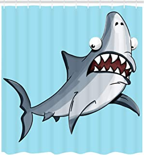 Fourth Shore Shark Shower Curtain for Master-Guest-Mens-Kids-Boys-College or Beach House Bathroom, Friendly Shark with Funny Smile Expression on Colorful Ocean Blue Background, Includes Curtain Hooks