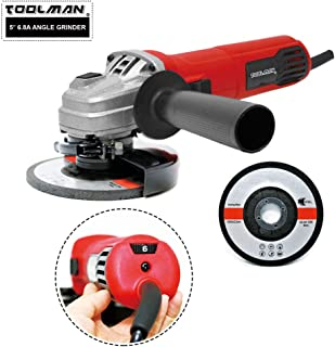 Lion Tools DB6816 TOOLMAN 5'' 6.8A 6 Variable Speed Angle Grinder works with DeWalt Makita Ryobi Bosch Skill Accessories