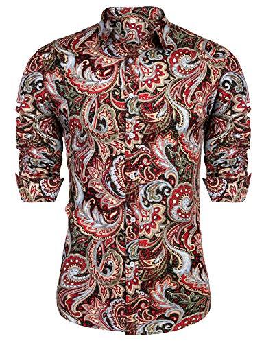 URRU Men's Floral Dress Shirt Long Sleeve Casual Paisley Printed Button Down Shirt Dark Red XXL