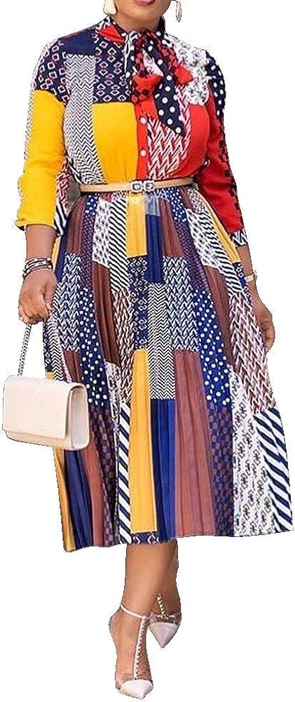 VERWIN Bow Collar Patchwork A-Line Color Block Women's Long Sleeve Dress Midi Dress