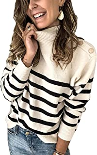 KIRUNDO 2021 Winter Women's Long Sleeves Knit Sweater Turtleneck Striped Print Loose Pullover Tops Deco with Metal Button
