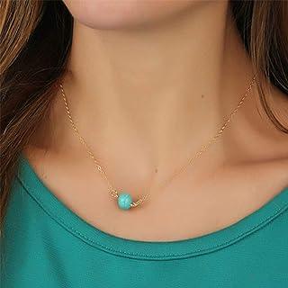 TseenYi - Collana girocollo con perle turchesi boho in oro con pietre preziose, collana da donna e ragazza