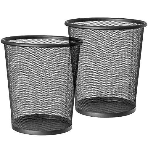 ArtMoon Mesh Papelera Circular de Rejilla Metalica, Hecha de Acero Recubierto de Polvo, Papelera Negra, Capacidad 12L (2 Pack)