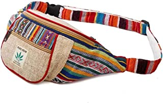 Maha Bodhi Handmade Hemp Festival Waistpack Boho Hippie Waist Bag Hip Bum Running Belt Fanny Pack ~ Multi Color Stripe