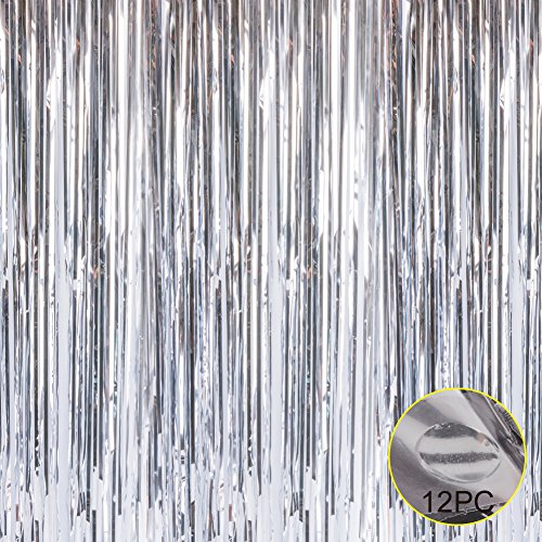 Foil Fringe Metallic Curtain Backdrops - with Balloon Sticks 3.3FTX6.6FT Tinsel Shiny Curtains Perfect for Photo Booth Party/Window/Door Decorative Fringe Curtains,1 Pair Sliver