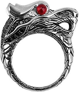 John Hardy Sterling Silver NAGA Dragon Ring Black Sapphire Ruby Eyes Size 7 35R