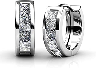 Giselle 18k White Gold Plated Crystal Hoop Earrings with Swarovski, Beautiful Sparkling Silver Small Hoops Earring Set, Wedding Anniversary Fashion Jewelry - Hypoallergenic
