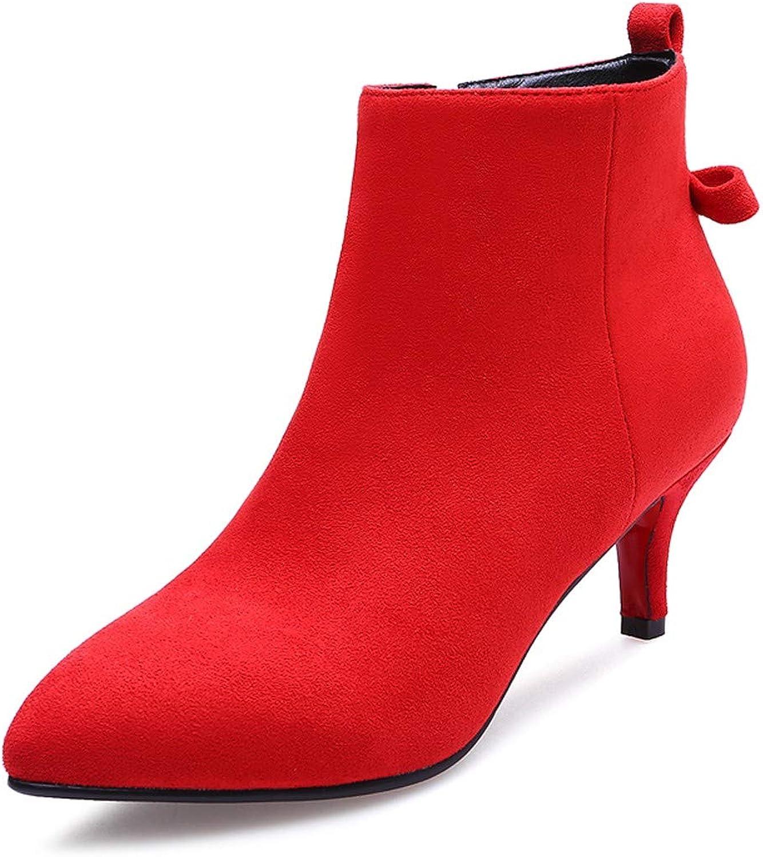 HBDLH Damenschuhe Rote Schuhe Hochzeit Herbst Und Und Und Winter Weiblich 6 cm Hohen Ferse Stiefel Pumps Braut Schwangere Hochzeit Toast Hochzeits - Stiefel  3d75e0