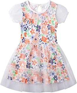 HILEELANG Girl Summer Party Dress Floral Tulle Plaid Outfits Formal Chiffon Flower Girl Dresses Baby to Big Girl 1-12Y