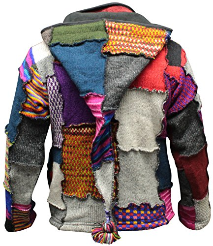 SHOPOHOLIC FASHION Herren Batik Patchwork Hippie Jacke Fleece gefüttert Fest Boho Hippie Pullover - Mehrfarbig, Large