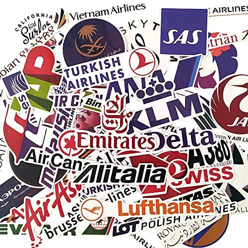 Pegatinas maletas viaje marcas de aerolineas vinilos logotipos airline stickers equipaje skate laptop tablet ordenador vuelos todo mundo regalos pilotos avion