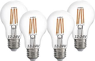 12 Volt 24 Volt 12V-24V LED Light Bulb, RV Camper Marine Light Bulb A19 Low Voltage 4W 470lm Edison Incandescent Bulb 40W, Off Grid Solar Battery System Lighting, E26 Base Warmwhite 2700K (Pack of 4)