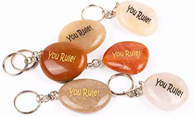 12PCS You Rule! RockImpact Inspirational Stone Key Chains, Engraved Natural River Rock Key Rings, Pocket Stone Keychain, Bulk Word Stone Wholesale Keyring, (Pack of 12, You Rule!)