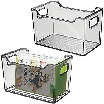 mDesign Juego de 2 cajas organizadoras de plástico – Caja con asas ...