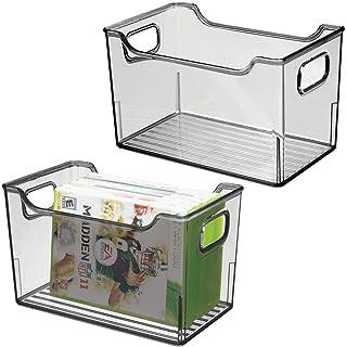mDesign bac de rangement avec poignées (lot de 2) – boite de rangement plastique multifonction – caisse de rangement polyv...