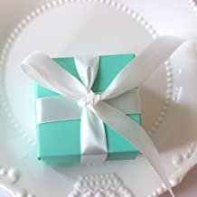 Bueer 100pcs Tiffany Blue Modern Minimalist Design Candy Favor Candy Chocolate Gift Box Bonbonniere for Wedding Party Favor Birthday Anniverary Bridal Shower Decoration with Ribbons