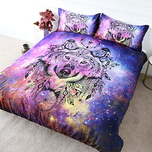 BlessLiving Galaxy Wolf Bedding Pink Blue Purple Nebula Space Wolf Duvet Cover set 3 Pieces Wolf Dream Catcher Cosmic Bedding (Double)