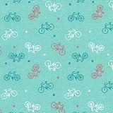 Baumwollstoff | Mehrfarbige Fahrräder - Korallenrot,