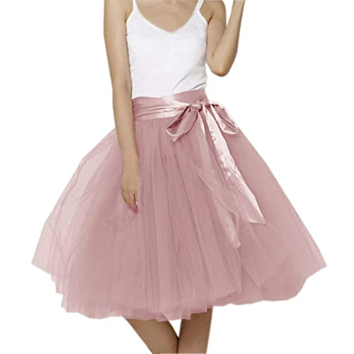 993698a3fcd Lisong Women Knee Length Bowknot Layered Tulle Party Prom Skirt