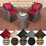 CLP Poly-Rattan Balkon-Set SANDINO, Stellfläche ca. 3 qm, 2 Sessel + Beistell-Tisch rund Ø 50 cm, 5 mm RUND-Geflecht Rattan Farbe grau-meliert, Bezugfarbe: Rubinrot