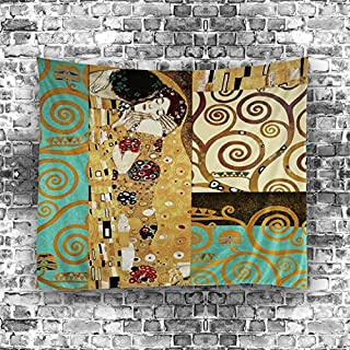 HMWR Gustav Klimt Tapestry Wall Hanging Art Painting Kiss You Wall decor Collage dorm Beach Throw tapestry Home Decoration 60 X 40 Inches,Vintage