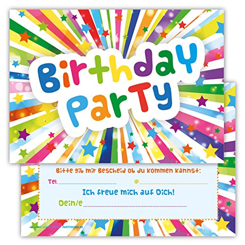 Einladungskarten für Kindergeburtstage für Jungen oder Mädchen (Sterne, 12 Stück im Kartenset)