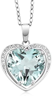 925 Sterling Silver Heart Shape Simulated Aquamarine Pendant Necklace With 18 Inch Silver Chain