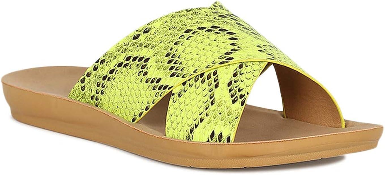 Alrisco Women Crisscross Snake Band Slide Sandal RF96 - Yellow Black Snake (Size: 6.0)