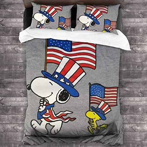 QWAS Snoopy - Funda nórdica de microfibra para decoración de dormitorio para niños y niñas, diseño de dibujos animados (X01, 140 x 210 cm + 80 x 80 cm x 2)