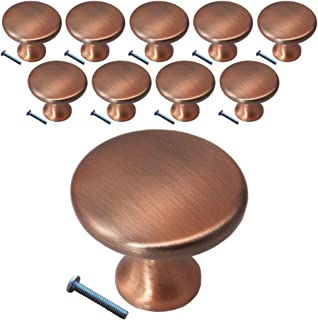 (10 Pack, Knob) Swiss Kelly Antique Copper Kitchen Cabinet Pull Drawer Handle