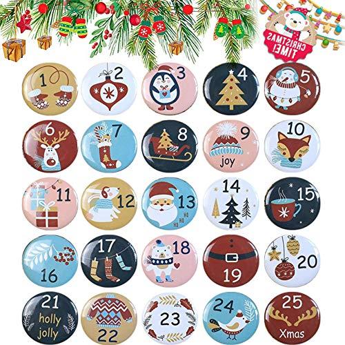 ZHOUZHOU 25 Boutons Calendrier de l'avent,Boutons numéro 1-25,Boutons Chiffres Noel,Boutons Calendrier de l'avent,Badge de Chiffre pour Décorations de Sac Jute Compte à Rebours de Noël